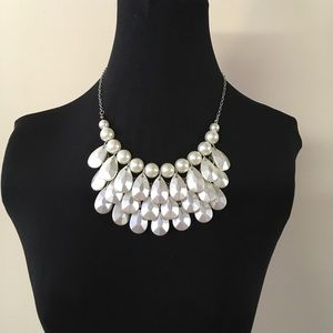Faux Pearl Teardrop Necklace Adjustable Length New